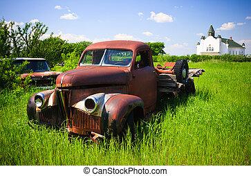 古い, 赤, 農場, トラック