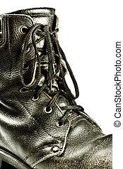 古い, 軍隊, スタイル, ブーツ, クローズアップ