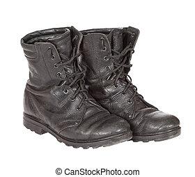 古い, 軍隊, ブーツ, 隔離された, 白, 背景