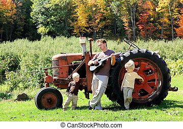 古い, 農場, 父, ギター, 息子, 遊び, トラクター