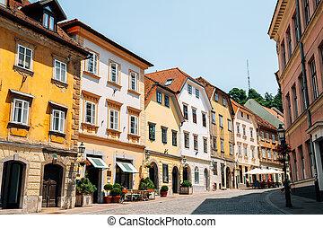 古い, 通り, スロベニア, trg, gornji, ljubljana, 町