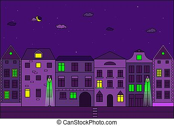 古い, 通り, 夜, ヨーロッパの都市, city., ベクトル, illustration.