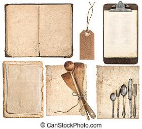 古い, 道具, クリップボード, 料理の本, ページ, 台所