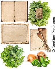 古い, 道具, ハーブ, 料理の本, ページ, 台所