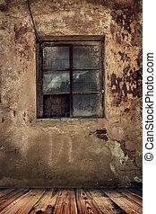 古い, 部屋, 床, 壁, 家, 木製である, グランジ, 捨てられた