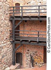 古い, 部屋, museum., 刻まれた, ドア, 城, knights., teutonic