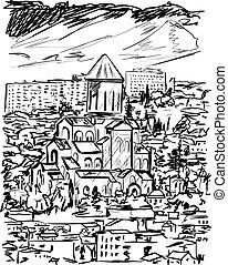 古い 都市, ベクトル, イラスト