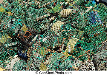 古い, 釣り, ケージ, 中に, ∥, 港, の, cascais, ポルトガル