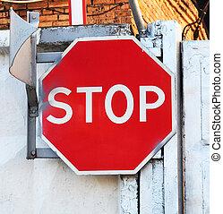 古い, 錆ついた, 一時停止標識