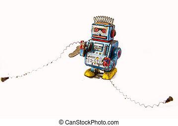 古い, 錆ついた, 上に, ロボット, おもちゃ