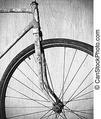 古い, 錆ついた, 自転車, 黒くと白の写真