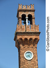 古い, 鐘, 島, 時計, murano, 歴史的, タワー