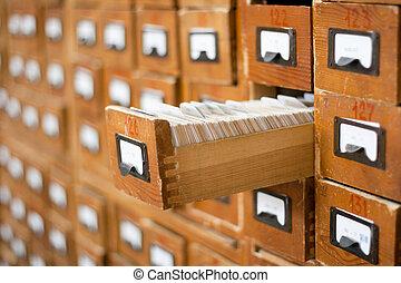 古い, 開いた, 木製である, 1(人・つ), 引き出し, カタログ, カード