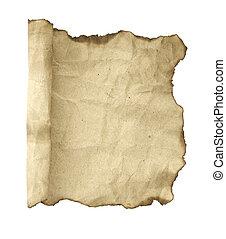 古い, 隔離された, ペーパー, 背景, scroll., 白