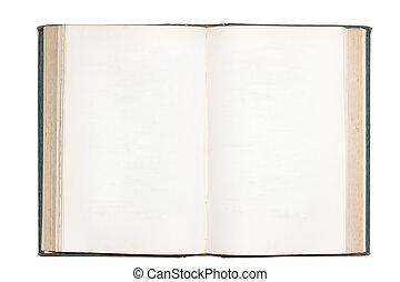 古い, 隔離された, 本, ブランク, 開いた, ページ