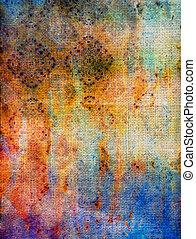 古い, 青, 抽象的, パターン, 黄色, fabric:, 背景, textured, 赤