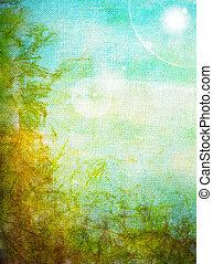 古い, 青, canvas:, 抽象的, パターン, 黄色, 緑の背景, textured