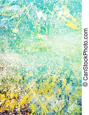 古い, 青, canvas:, 抽象的, パターン, 黄色, 緑の背景, textured, 白, 背景
