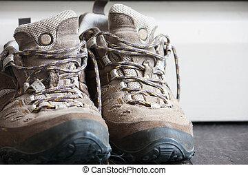 古い, 靴, ハイキング