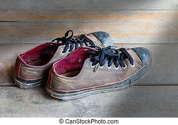 古い, 靴, 床, の上, 汚い, 終わり