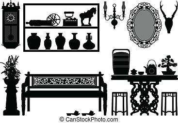 古い, 骨董品, 伝統的である, 家具