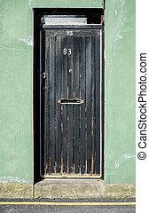 古い, 黒, ドア