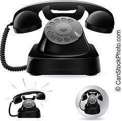 古い, 黒, 電話, アイコン