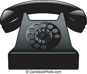 古い, 黒, 電話