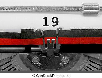 古い, 19, 数, ペーパー, 白, タイプライター