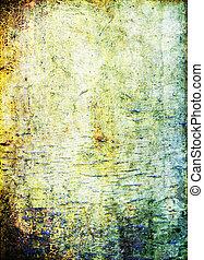 古い, background:, ブラウン, 抽象的, 黄色, ぼろを着ている, パターン, 緑, textured, wall:, 背景, 青