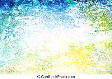 古い, background:, 抽象的, ぼろを着ている, パターン, 黄色, 緑, textured, 白, ...