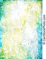 古い, background:, 抽象的, ぼろを着ている, パターン, 黄色, 緑, textured, 白, wall:, 背景, 青