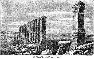 古い, carthage, 水路, ローマの残骸, engraving.