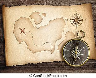 古い, concept., 宝物, map., 冒険, コンパス, テーブル