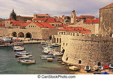 古い, croatia, 港, dubrovnik