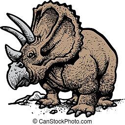 古い, dinosaurus, styracosaurus