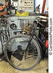 古い, electro-mechanic, 道具, 中に, a, ワークショップ