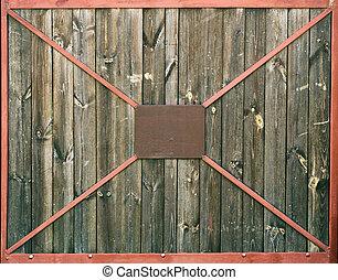 古い, frame., 木製である, 金属, 手ざわり, 背景, 門