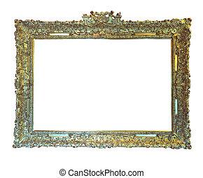 古い, frame., 金, 上に, 隔離された, 白