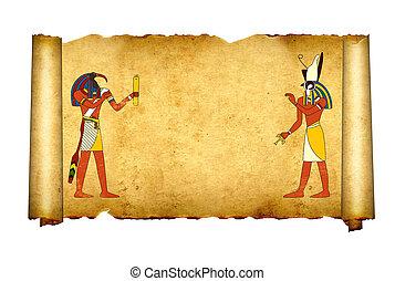 古い, horus, エジプト人, 神, toth, イメージ, 羊皮紙