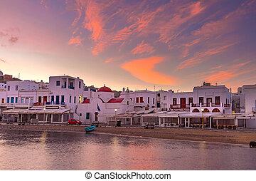 古い, mykonos, 港, ギリシャ