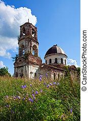 古い, novgorod, 地域, 捨てられる, 教会, ロシア
