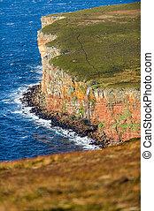 古い, orkney, スコットランド, 歩きなさい, 滝, 崖, hoy, 人