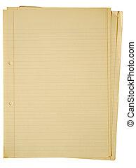 古い, paper., かすか, a4, シート, 黄色くなる, 内側を覆われた