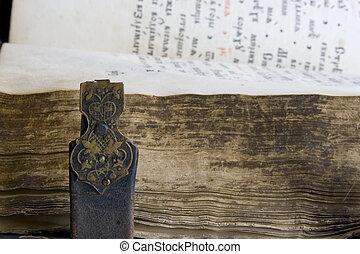 古い, psalter, 本, 中世