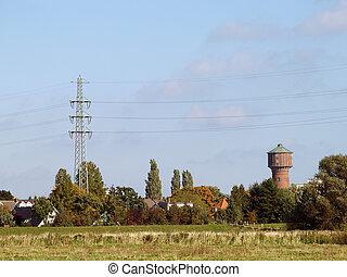 古い, watertow, 風景