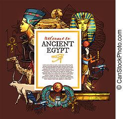 古代エジプト, ポスター, 旅行, シンボル, 国