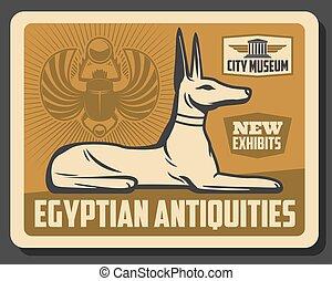 古代エジプト, 神, anubis, オオタマオシコガネ, 像, かぶと虫