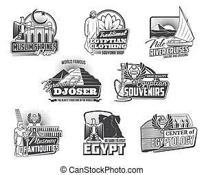 古代, アイコン, ピラミッド, エジプト人, gods., エジプト, 地図