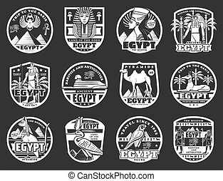 古代, アイコン, 旅行, 神, エジプト人, ファラオ